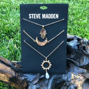 Steve Madden Set of 3 Necklaces Hamsa Hand Moon Pearl Gold Tone Layered